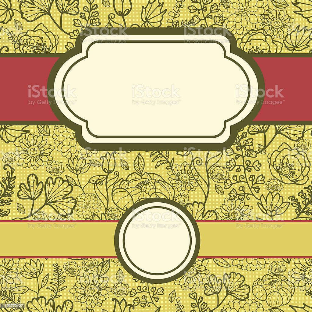Green Field Fabric Texture Floral Seamless Pattern And Frames Set royalty-free stock vector art