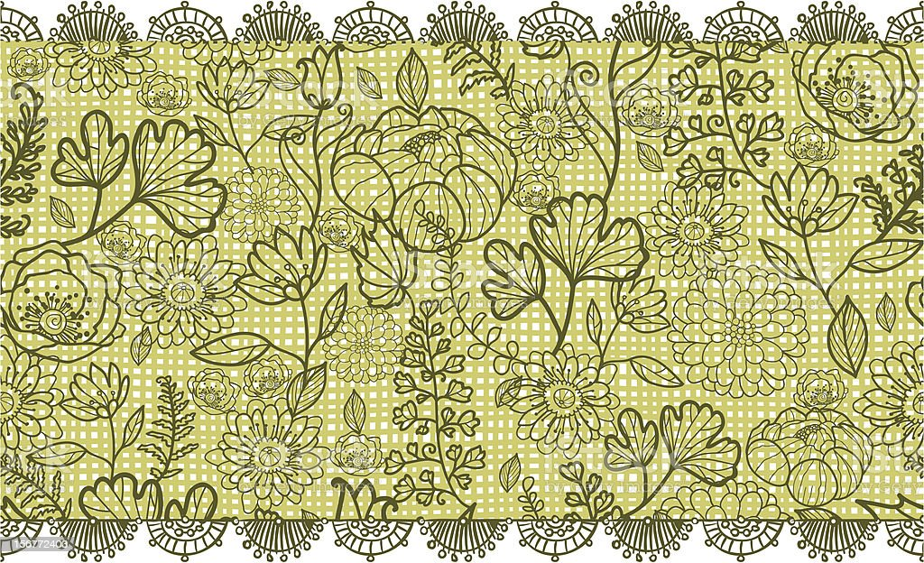 Green Field Lace Floral Horizontal Seamless Pattern royalty-free stock vector art
