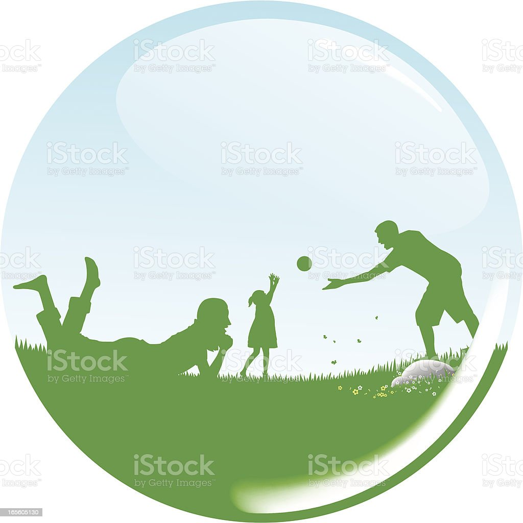 green field with family royalty-free stock vector art
