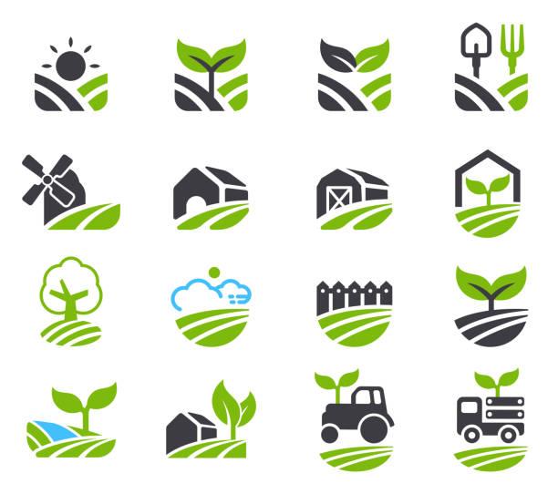 illustrations, cliparts, dessins animés et icônes de icône de champs verdoyants. - agriculture