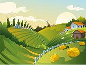 Rural Landscape vector illustration.