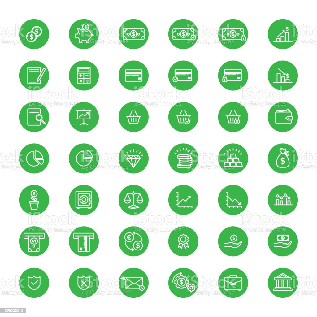 Yeşil Ekonomi ve bankacılık lineart düğmeleri vektör sanat illüstrasyonu