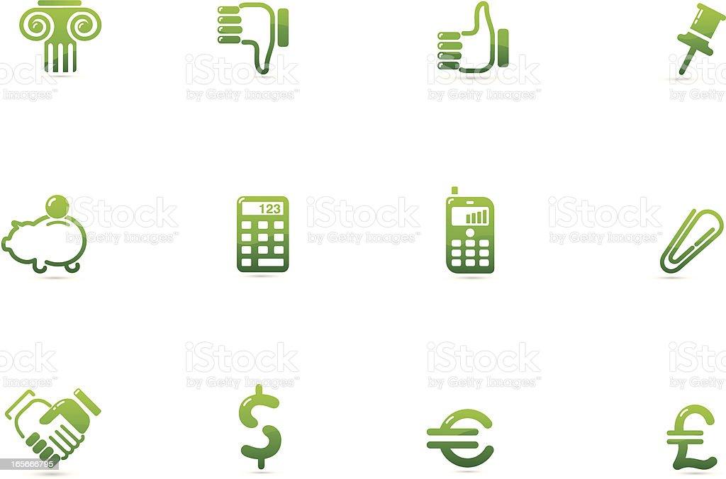 Green Financial Icons | Verde Series vector art illustration