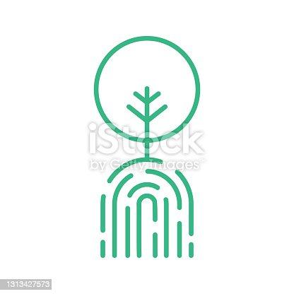 istock Green Finger print tree line icon. Zero emission concept. Environment conservation. 1313427573
