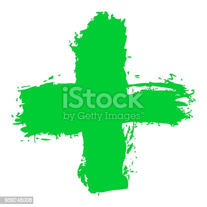 First aid cross symbol. The green plus sign or criss-cross shape created by the brushstroke. Graphic element for design saved as an vector illustration in file format EPS 8