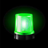 Green flashers Siren Vector. Realistic Object. Black Background vector Illustration. Light Effect. Beacon For Police Cars Ambulance, Fire Trucks. Emergency Flashing Siren.
