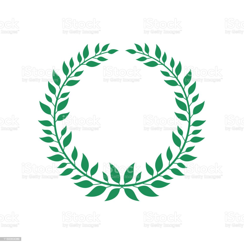 Green flat vector wreath isolated on white background, award champion...