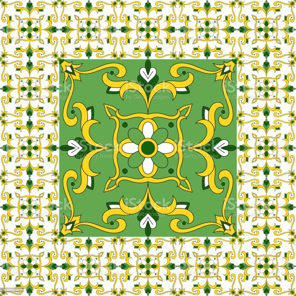 Grüner Boden Fliese Muster Vektor Blumendruck Mit Keramik Print ...