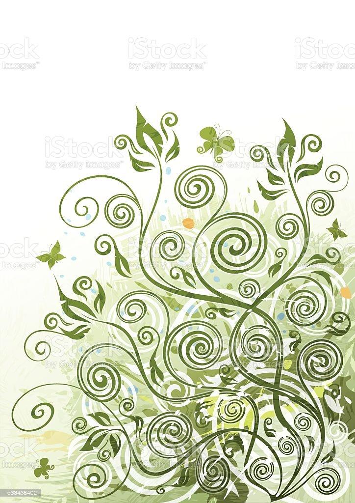 Green floral background illustration vector art illustration