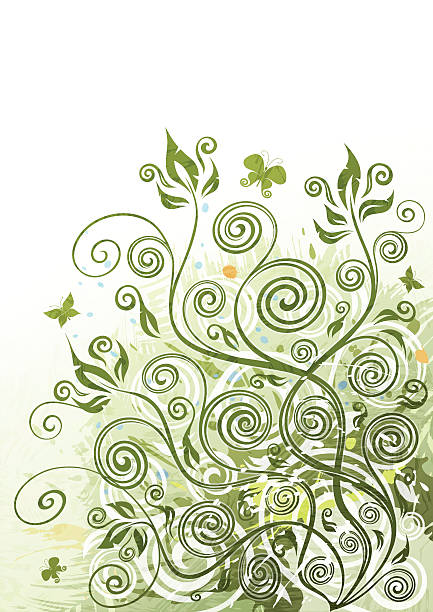 Green floral background illustration vector art illustration
