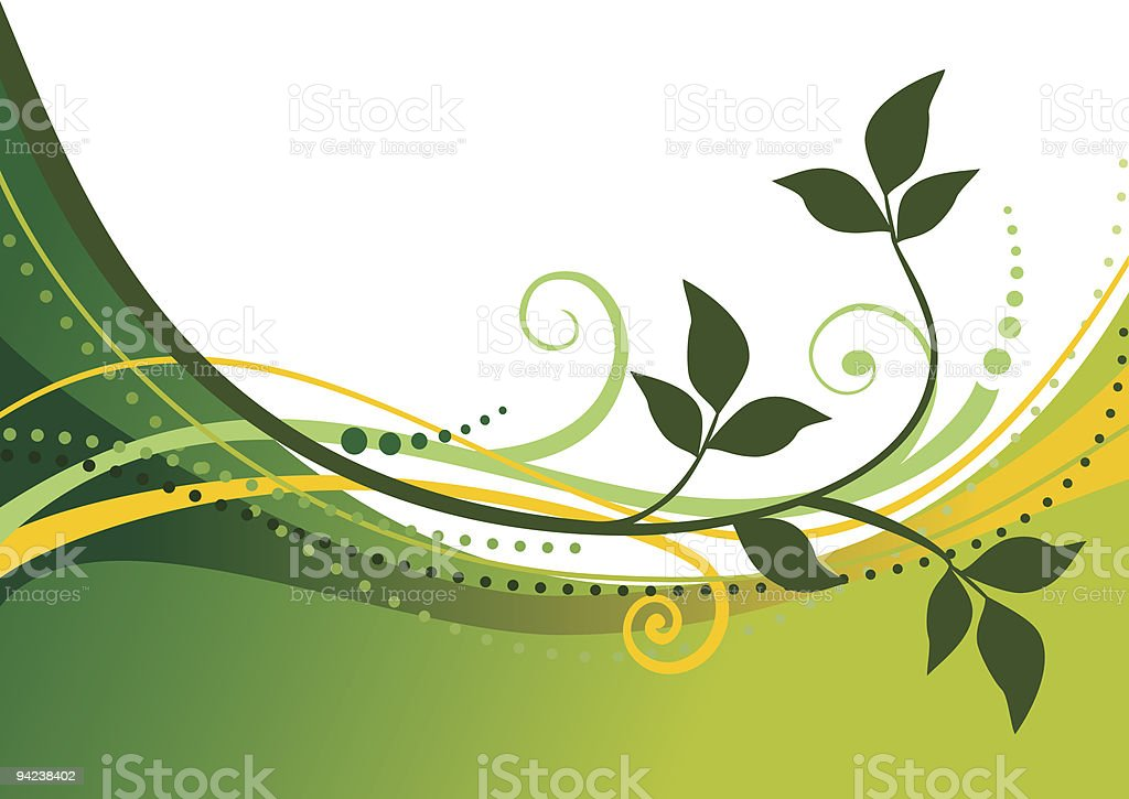 Green floral background vector art illustration