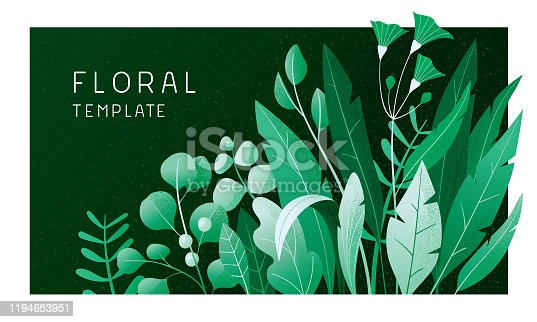 istock Green floral banner 1194653951