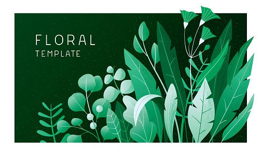 Green floral banner