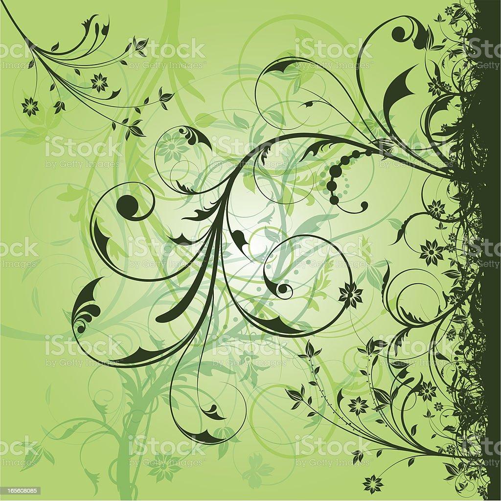 Green Floral Design royalty-free stock vector art
