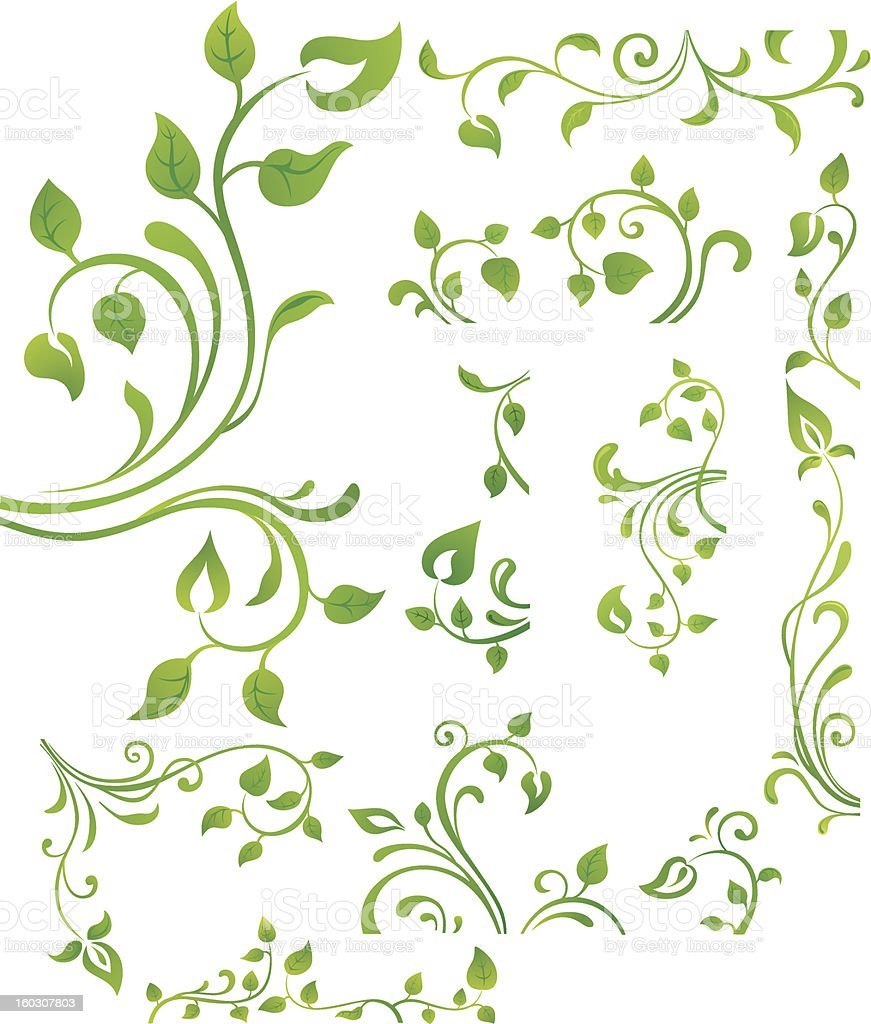 Green floral element vector art illustration