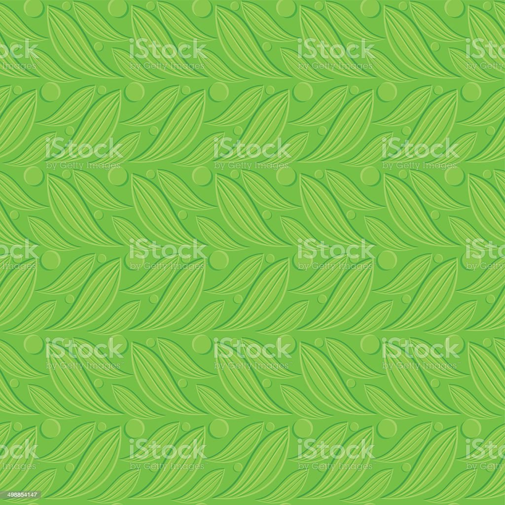 Green floral embossed seamless vector art illustration