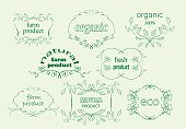 green floral labels for natural products - vector