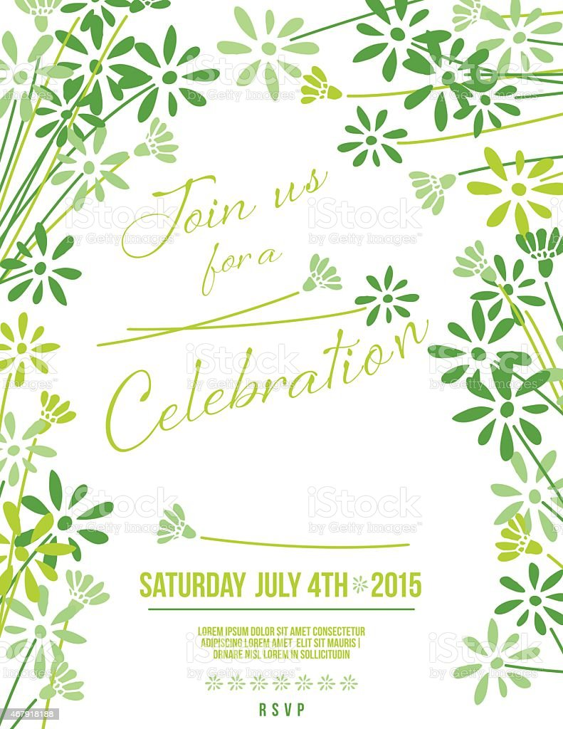 Green Floral Party Invitation Template vector art illustration