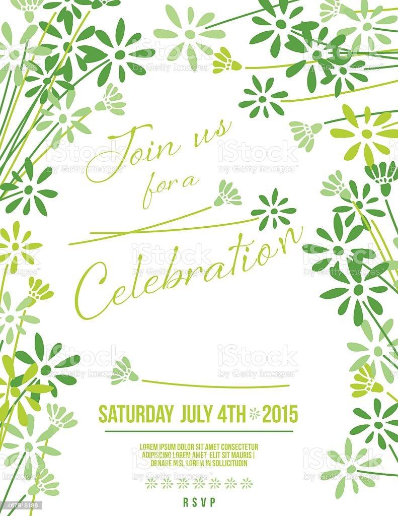 Grün Floral-Party-Einladung Vorlage  – Vektorgrafik