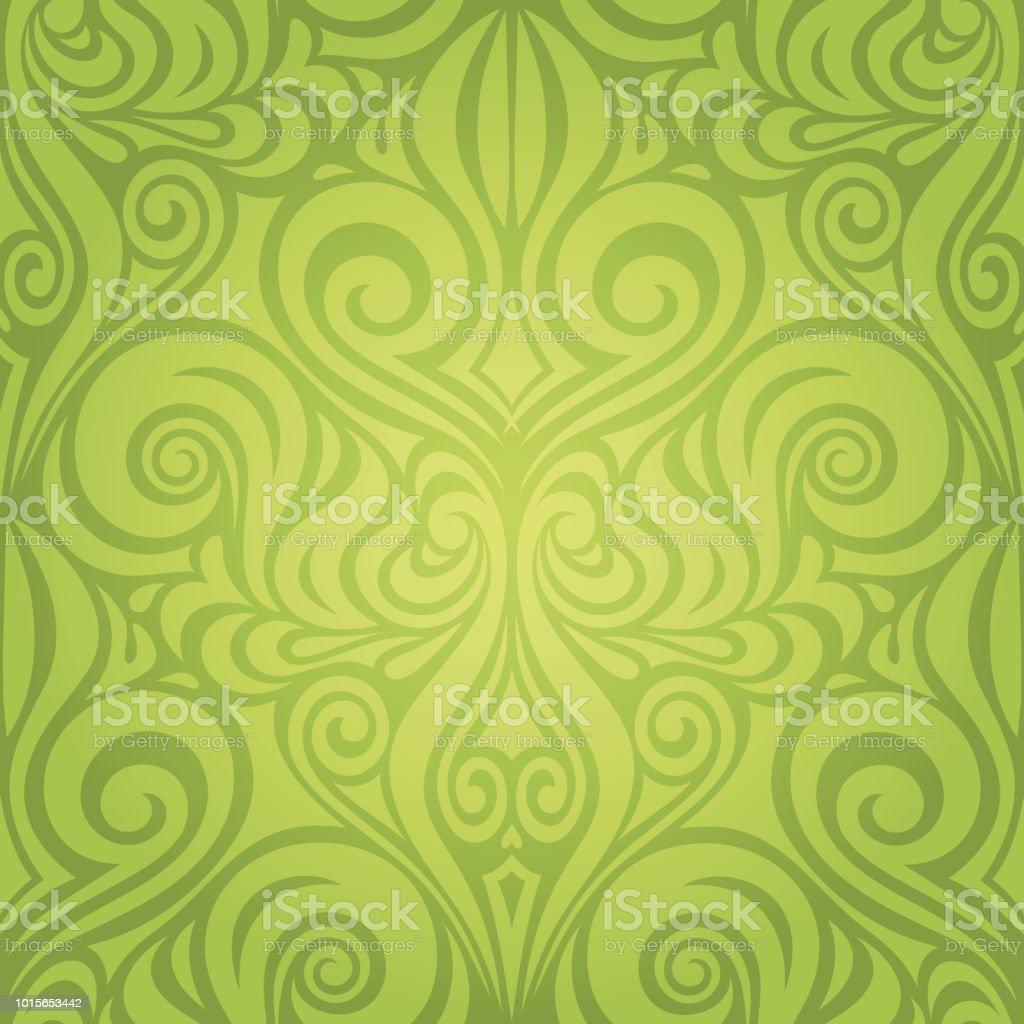 Grüne Blumen Frühling Ostern Dekorative Kunstvollen Muster Tapete