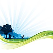 Silhouettes of people walking through a park behind a green flow design.