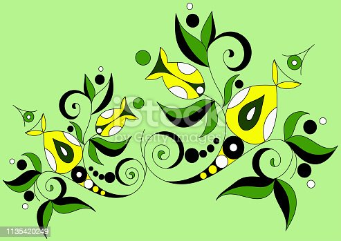 green flower cartoon ornament in vintage style