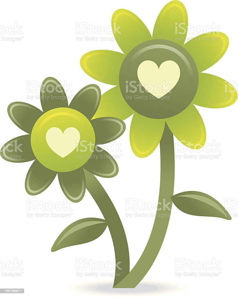Green flowers on white background with love hearts