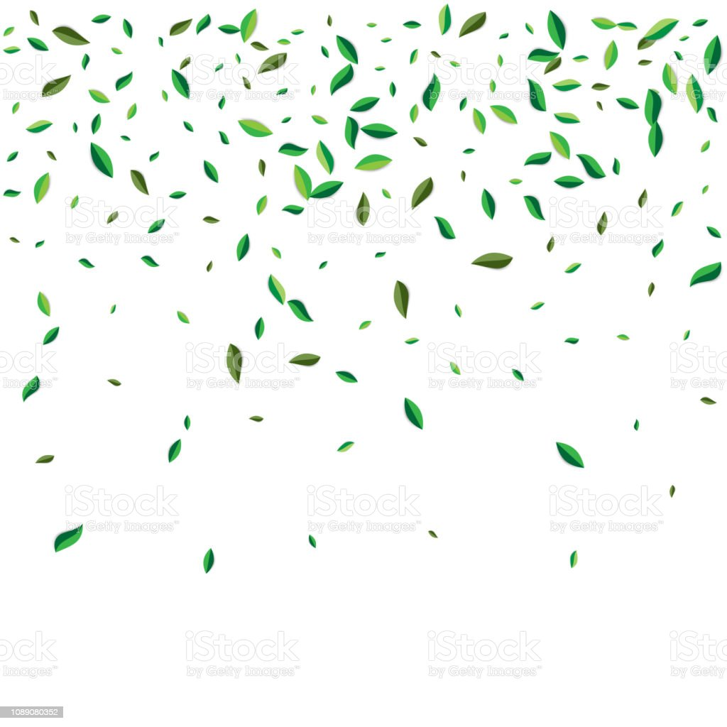 Green flying or falling off leaves. Vector abstract foliage...