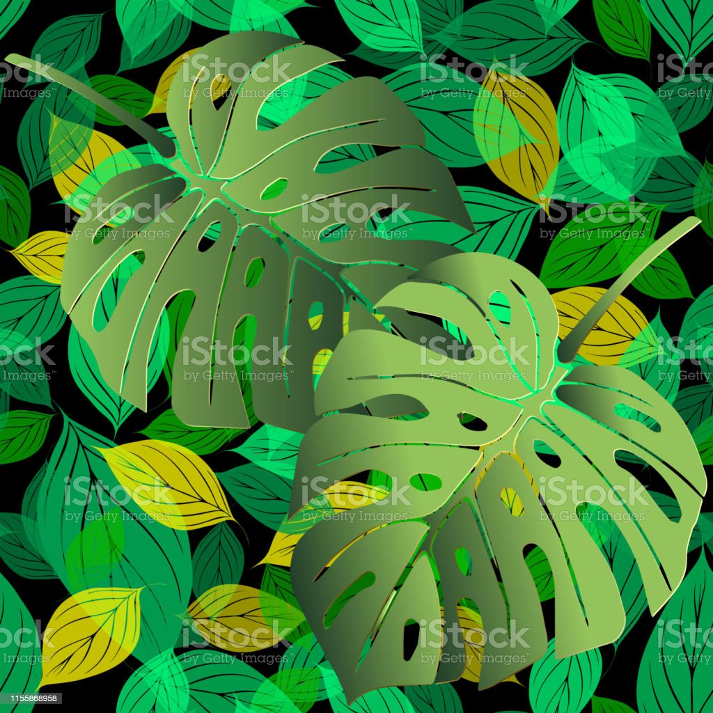 Green foliage vector seamless pattern. Tropical background. Ornate...