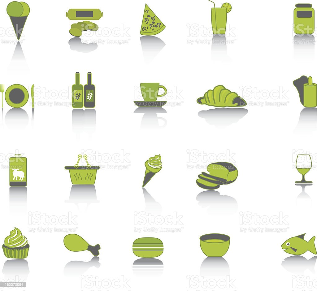 Green food collection set icons. royalty-free stock vector art