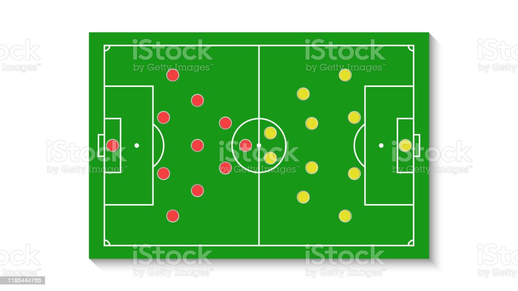 A Green Football Field With A Tactical Scheme Of The Arrangement Of Players Of Two Soccer Teams On The Board Organization Of A Game Diagram For A Fantasy League Coach Stock Illustration