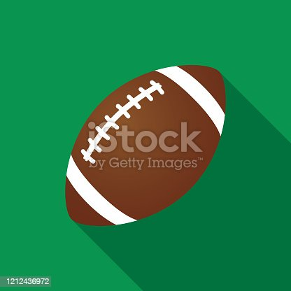 Vector illustration of a football on a green square background.