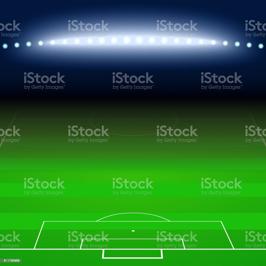 Green football, soccer field, white markings vector art illustration