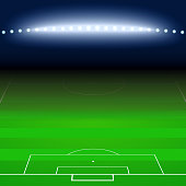 Green football, soccer field, white markings