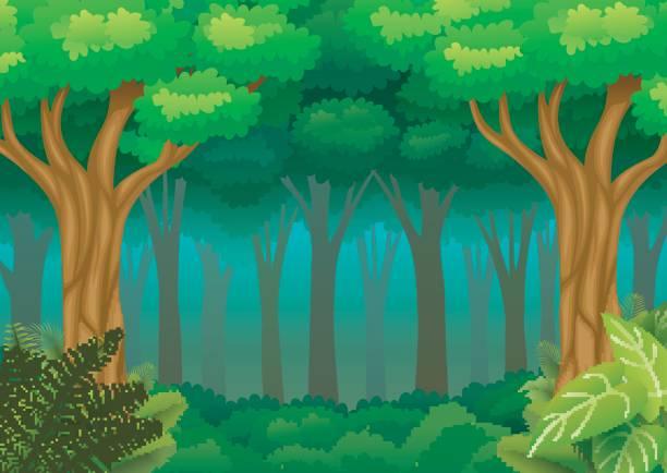 Top 60 Cartoon Of A Deep Dark Forest Clip Art, Vector