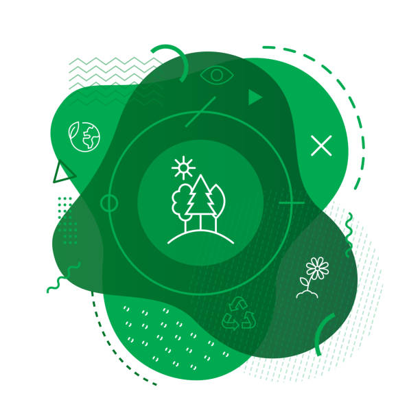 green forest icon background - sustainability stock illustrations