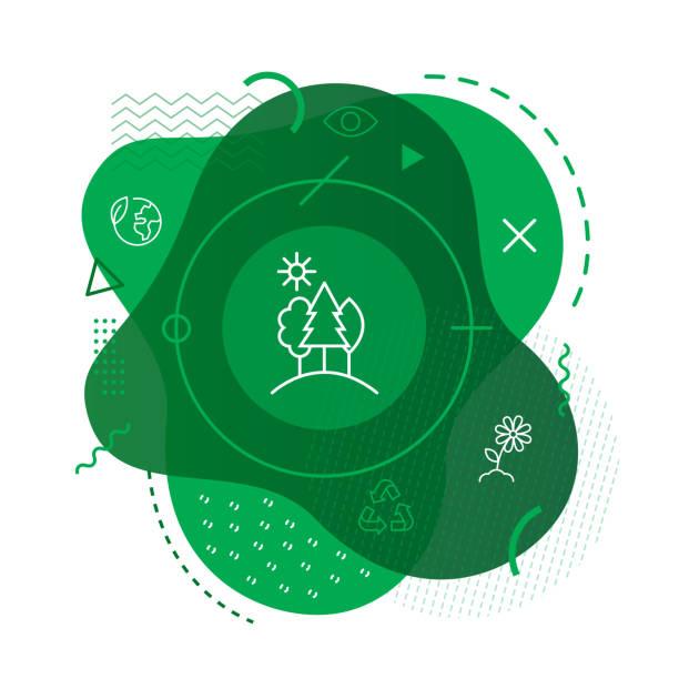ilustrações de stock, clip art, desenhos animados e ícones de green forest icon background - sustentabilidade