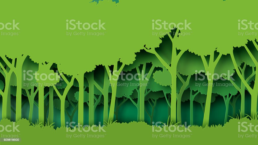 Green forest paper art style Eco green nature forest background template.Forest plantation with ecology and environment conservation creative idea concept paper art style.Vector illustration. Abstract stock vector