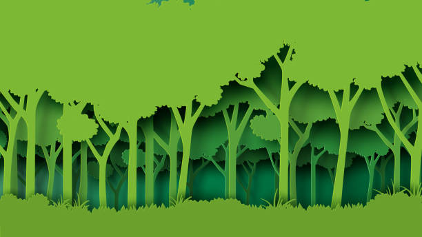 green forest paper art style - forest stock illustrations
