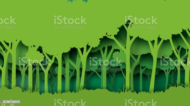 Green Forest Paper Art Style Stock Illustration - Download Image Now