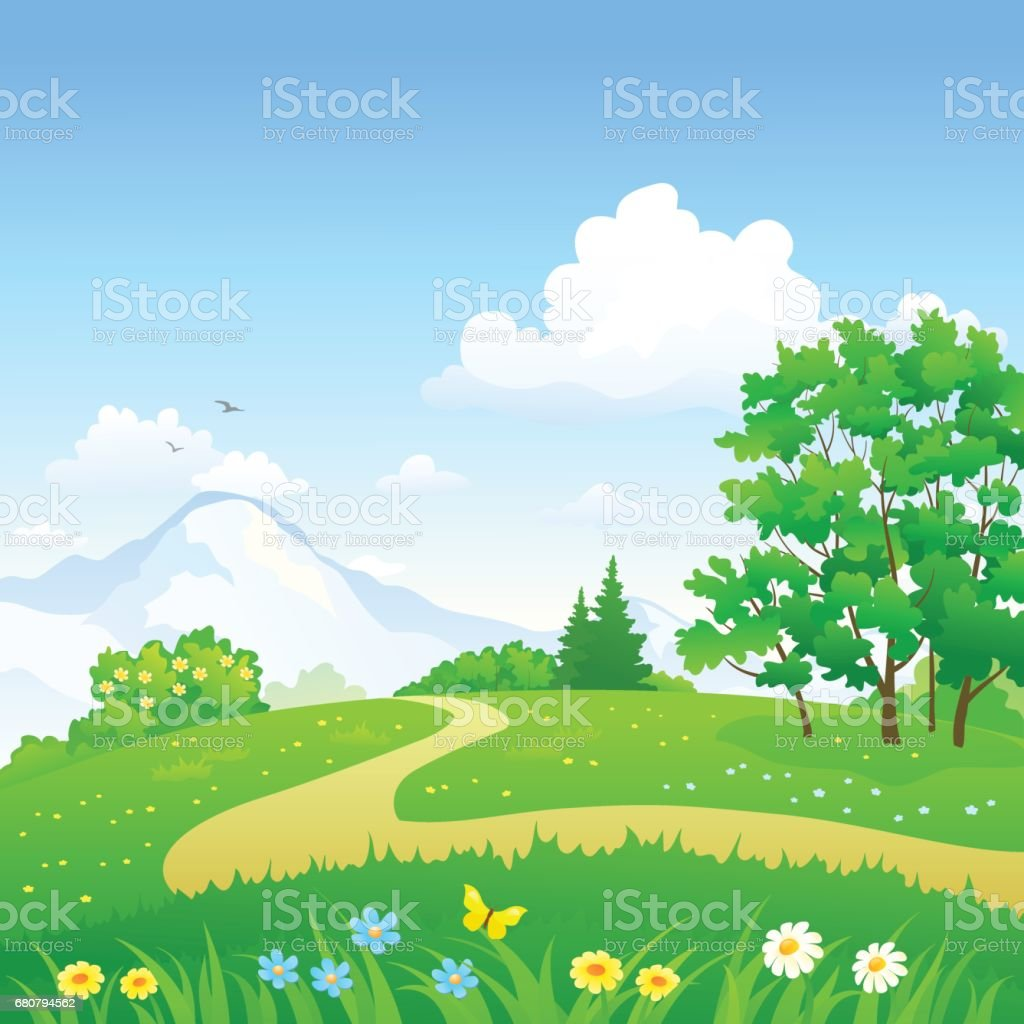 Green forest path vector art illustration