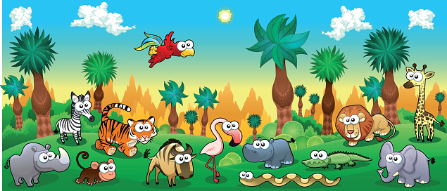 Green forest with funny wild animals