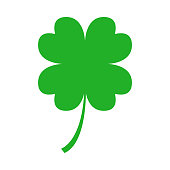 Green four leaf clover on white background. Vector.