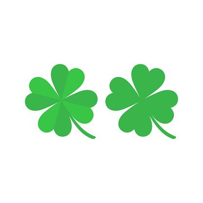 Green four leaf clover simple cartoon.