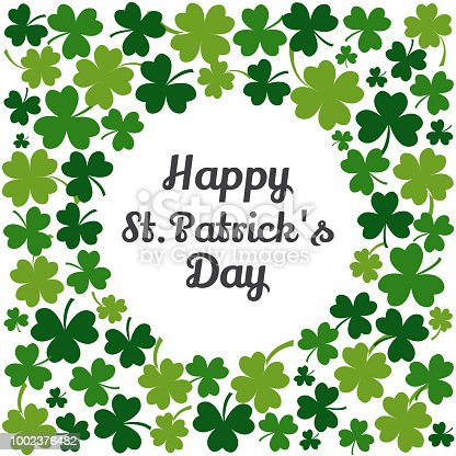 istock Green frame with clovers for Saint Patrick's Day. Vector illustration 1002376482