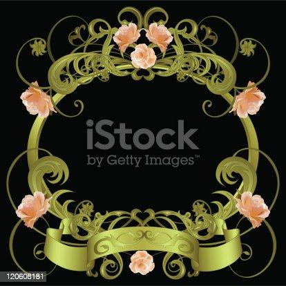Green framework with floral pattern, roses, banner on black background