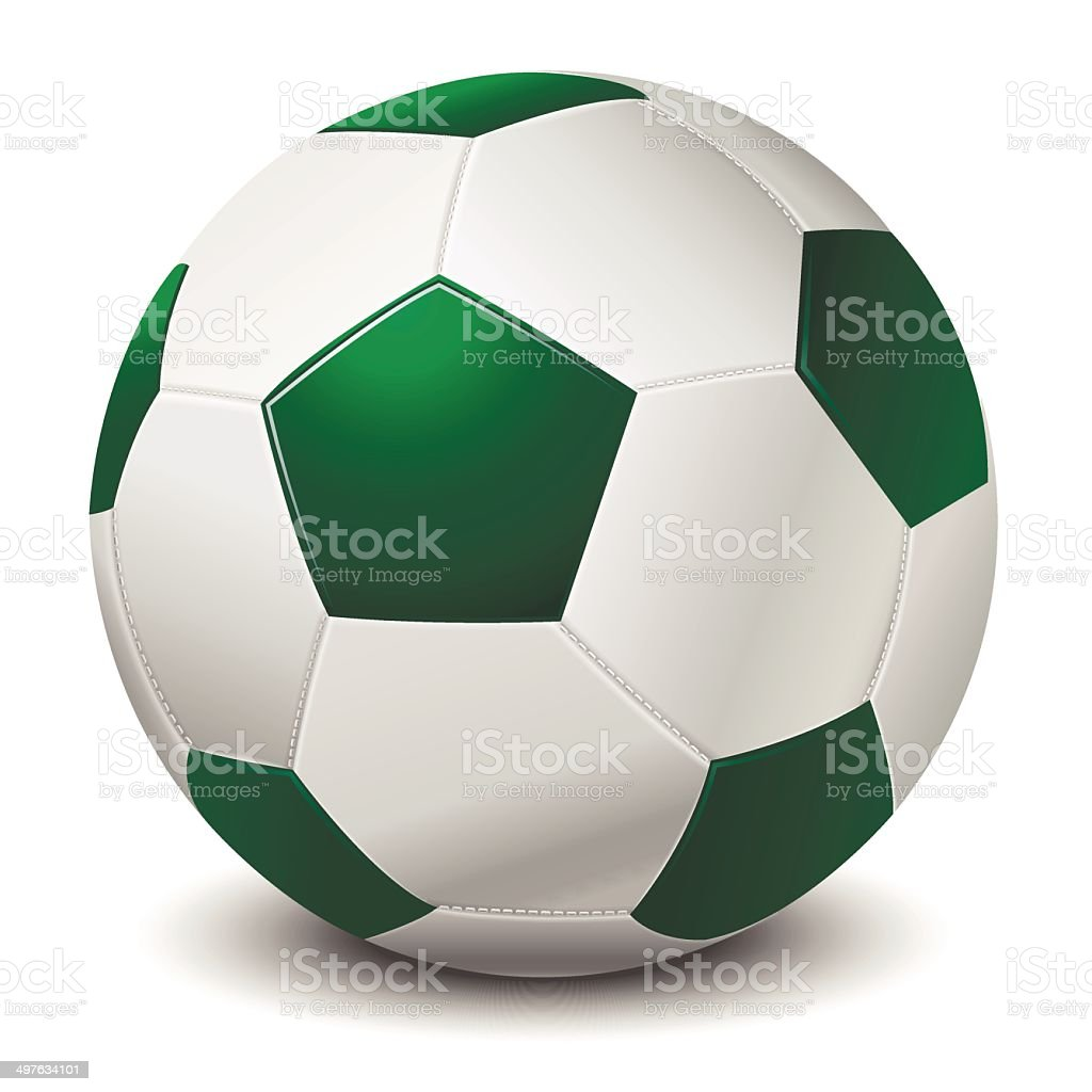 Green Fringe Football Ball vector art illustration
