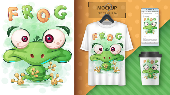Green frog poster and merchandising