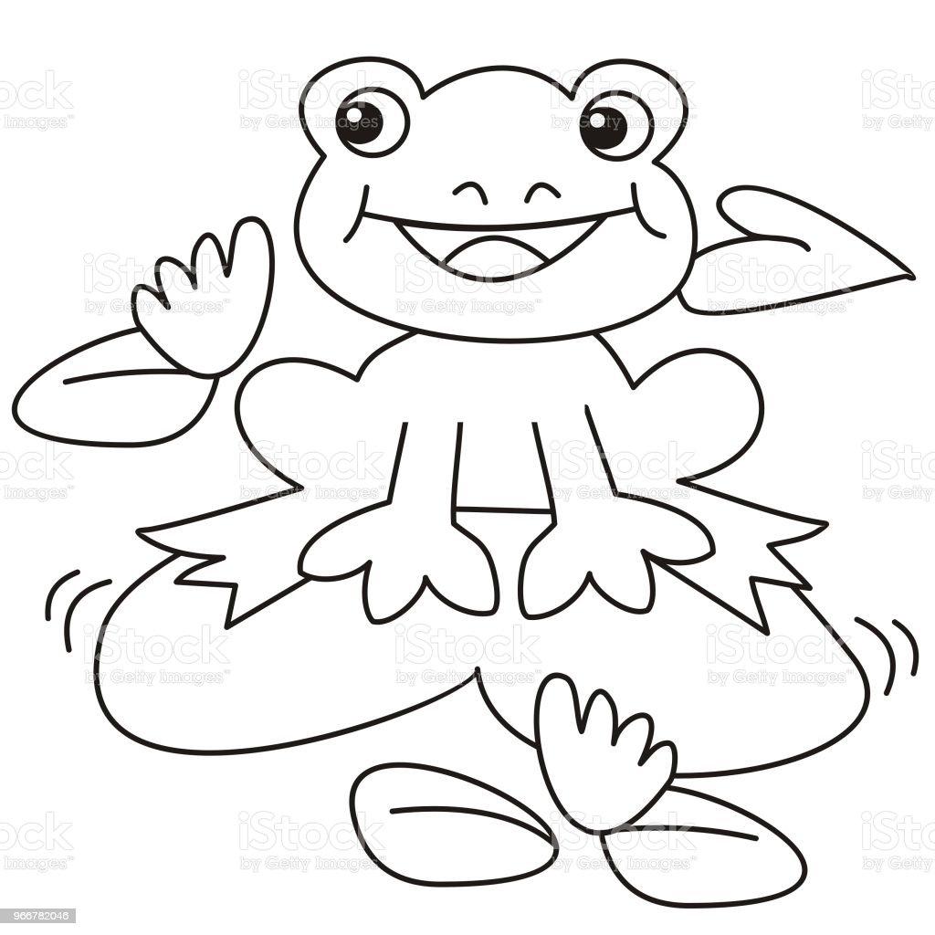 Grüner Frosch Sitzt Auf Einer Seerose Fröhlichen Bild Für Kinder ...