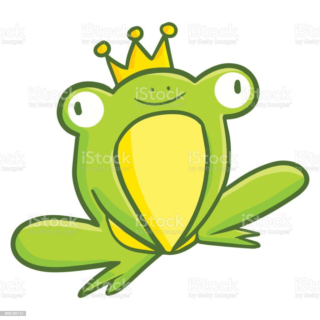 Grenouille Couronne portant la couronne dor grenouille verte – cliparts vectoriels et
